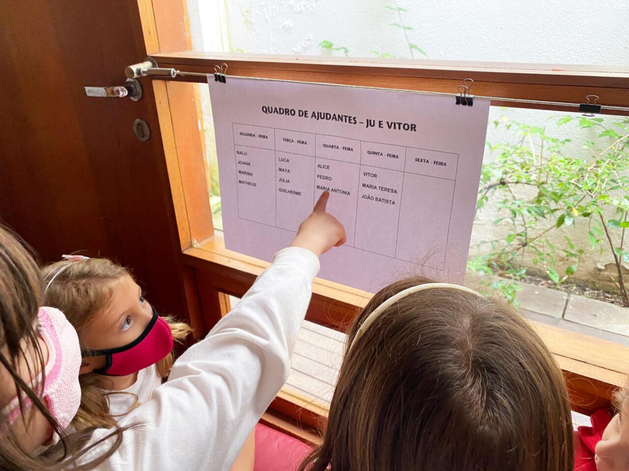 Crianças em processo de alfabetização olhando para quadro de ajudantes em sala de aula<br />